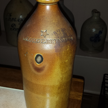 George Reynolds stoneware bottle with star