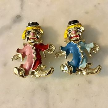 Enamel clown brooches - Costume Jewelry
