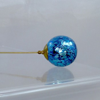 Rare Loetz Cobalt Papillion Hat Pin & Candia Single Tube Vase Holder  - Art Nouveau