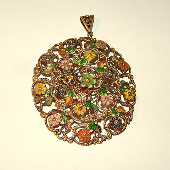 My favorite of the bunch - Brass plated round pendant with small enameled flowers clustered on the surface. - Costume Jewelry