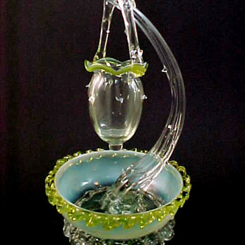 A Unique English or Bohemian Art Glass Epergne ~ An Unsolved Mystery - Art Glass