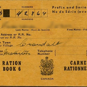Canadian ration book WW II - Military and Wartime