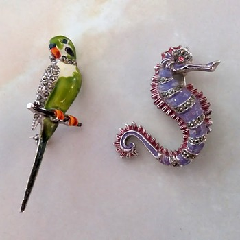 Two marcasite and enamel brooches, one (or both?) BJL - Costume Jewelry