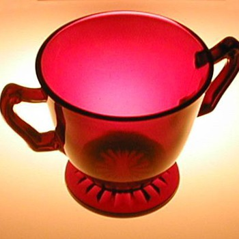 Anchor Hocking Ruby Red Sugar Bowl - Glassware