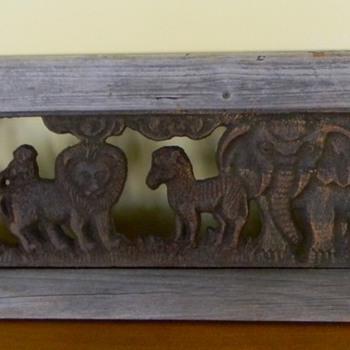 large wood framed safari animal cast iron wall plaque