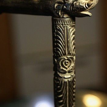 Highly Carved Ebony Walking Stick - Accessories