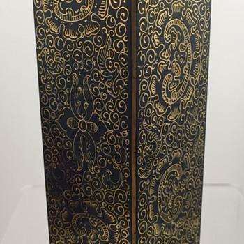 Carl Goldberg enameled black glass vase, signed, ca. 1910 - Art Glass