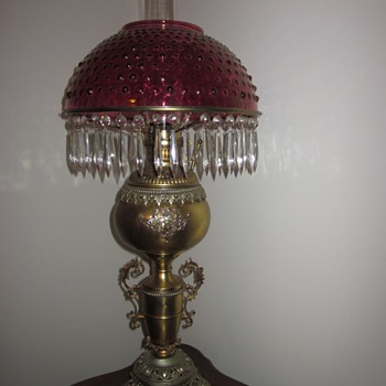 Antique Cranberry Hobnail Oil Lamp - Lamps