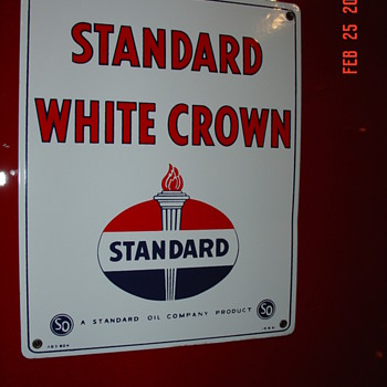 1951 Standard White Crown Pump Plate Porcelain Sign...Three Colors - Signs