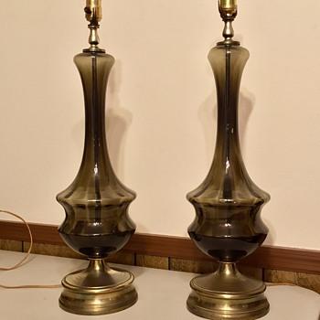 Mid Century Italian Art Glass Table Lamps Unique Color - Lamps