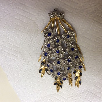 DuJay Sapphire and Rhinestone Large Floral Spray Brooch - Costume Jewelry