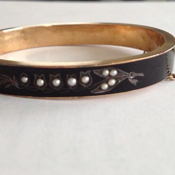 Victorian Enamel Mourning Bracelet