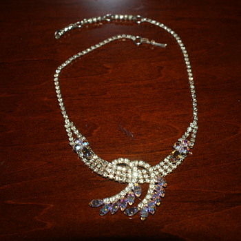 Unsigned Vintage AB Rhinestone Necklace - Costume Jewelry