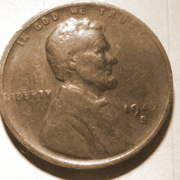 1943-s copper penny die filled error - US Coins
