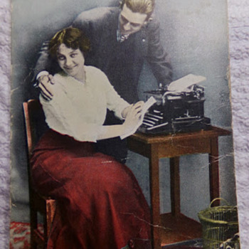 Typewriter on Postcard... and Creepy Lady.