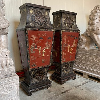 Huge almost 2 M High  Monumental Pair of Chinese Lacquer Baluster Vases Very Rare. - Asian