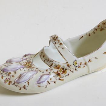 Antique Porcelain Shoe w/Strap, Unknown Blue mark - Pottery
