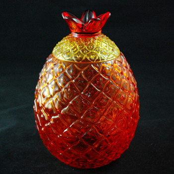 Amberina Glass Pineapple Jar w/ Lid - Kitchen
