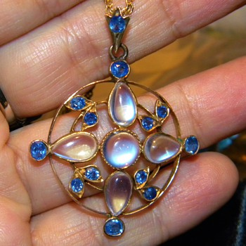 Antique Victorian Ceylon Sapphire Moonstone 12k Lavaliere Necklace  - Fine Jewelry