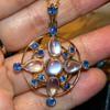 Antique Victorian Ceylon Sapphire Moonstone 12k Lavaliere Necklace