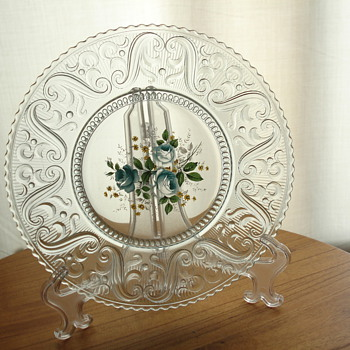 Floral decal plate - Glassware