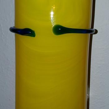 Yellow Vase with Cobalt Wrap