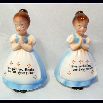 Vintage SALT & PEPPER SHAKERS -- Blue Dressed Ladies - Kitchen