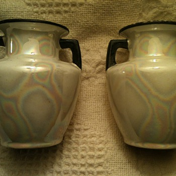 "Two small vases from  Czecho- Slovakia (as marked on bottom) #48 @6"" tall and @4"" wide  - Pottery"