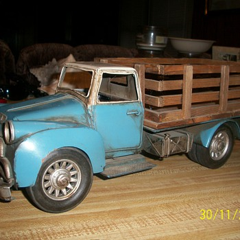 "metal truck with lots of petina!! very old! it measures 6""x16"" wooden box on back (no markings - Model Cars"