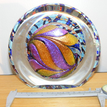 Large Glass Paperweight - Dichroic Glass - Signed  - Art Glass