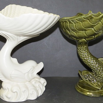 Two Dolphin with Balenced Shell Pottery Vases, Bon-bon Dishes, or Soap Dishes? - Pottery
