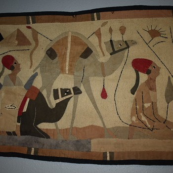 Antique Egyptian Revival Appliqued Wall Hanging - 1920s - Rugs and Textiles