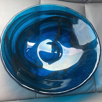 Royal Blue Swirl Bowl - Art Glass