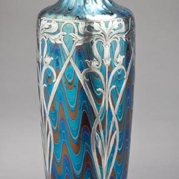 Galvanic Silver Overlay on Antique Art Glass - Bohemian & American - Art Nouveau