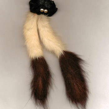 Fur and Pearls Pin - Costume Jewelry