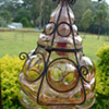 ?Pink Bubble Glass Light with Iron Cage