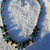 Stunning Green and Blue Rhinestone Necklace marked SHERMAN
