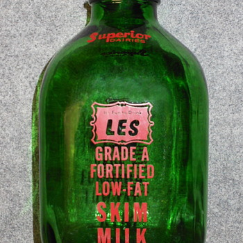 One Gallon Green Glass Milk Jug