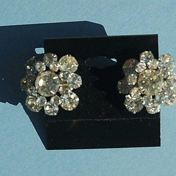 Bold and Beautiful crystal rhinestone clip on earrings - Costume Jewelry
