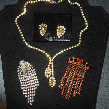 Rhinestone broaches and necklace
