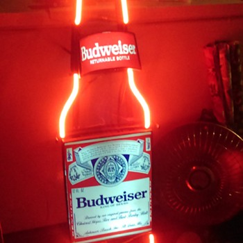 Large Budweiser Returnable Bottles Neon Bottle Wall Sign