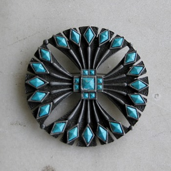 St. Labre faux turquoise pin - Costume Jewelry
