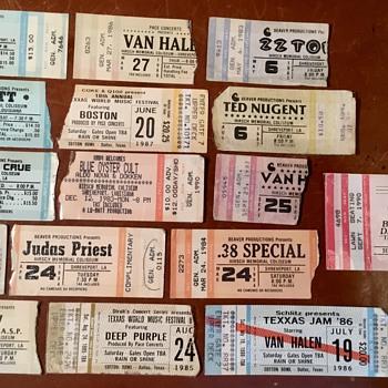 Concert Tickets, ZZ Top, AC DC, Kiss, Ratt, Van Halen, Mottley Crue, Judas Priest, Ted Nugent, Loverboy, Boston, Deep Purple - Music Memorabilia