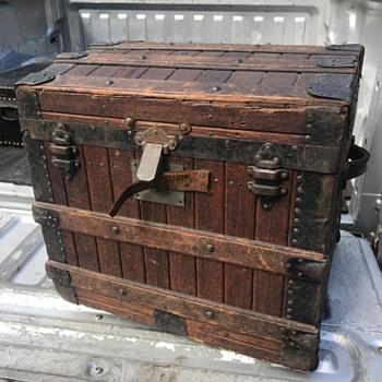 Brimfield Find this Morning - A Half Oak Slat Trunk!!!  I am in LOVE.  - Furniture