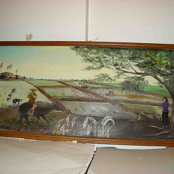 8 feet wide Asian Mural Sized Painting - Asian