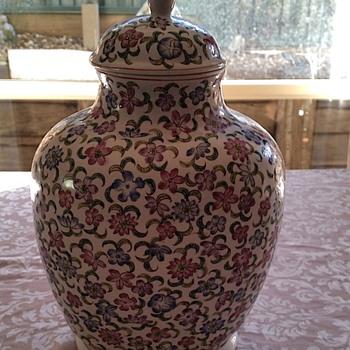 Vintage Floral Urn  - Pottery