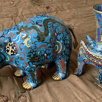 Antique Cloisonne Hippo and Rooster/Phoenix Censer Statue - Asian
