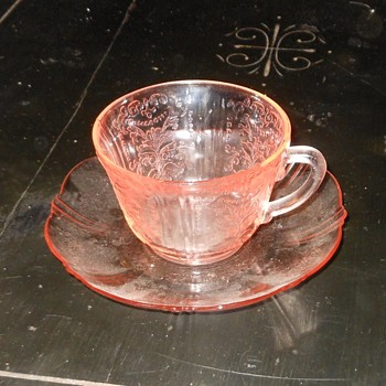 Pink Depression Glass Cup and Saucer American Sweetheart Pattern