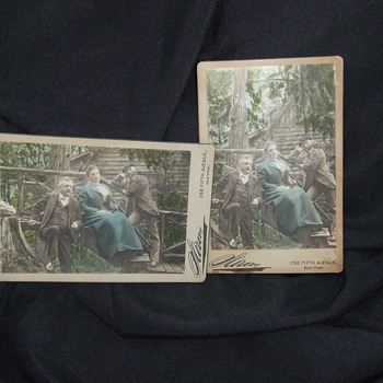 Unusual pair of tinted Sarony Cabinet Cards