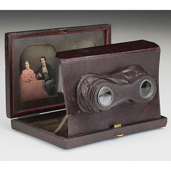 Baker's Stereo Daguerreotype Viewing Case with Original Image Pair, mid-1850s